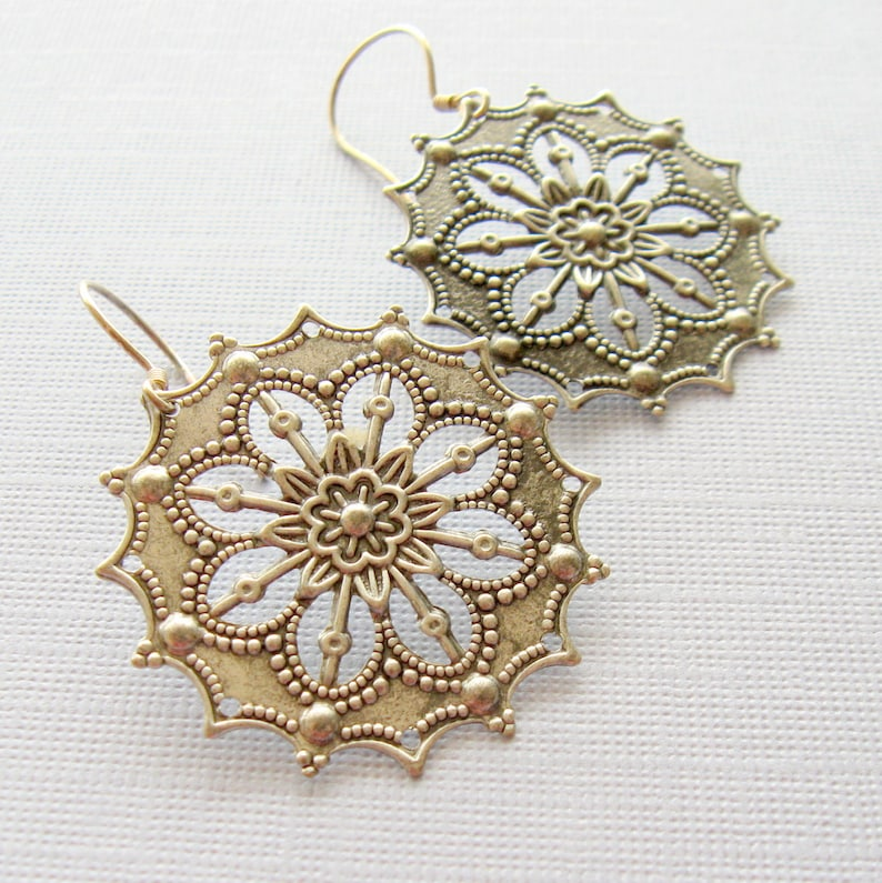 Medallion Earrings Silver Medallion Earrings Pewter image 0