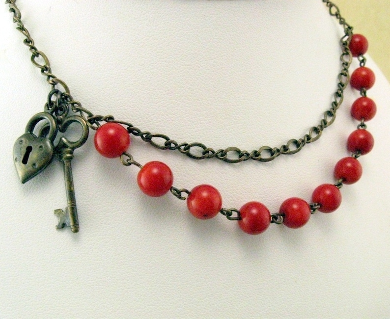 Heart and Lock Red Necklace with Red Bamboo Coral Gift for image 0