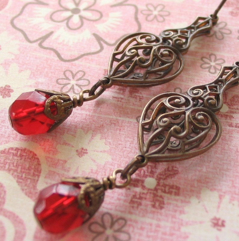 Red Drop Earrings Vintage Syle Red Earrings Art Nouveau image 0