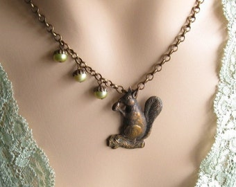 Squirrel Necklace, Woodland Jewelry, Gifts for Mom, Squirrel Lover, Acorn Necklace, Gift for Her Jewelry, Gift for Aunt sale
