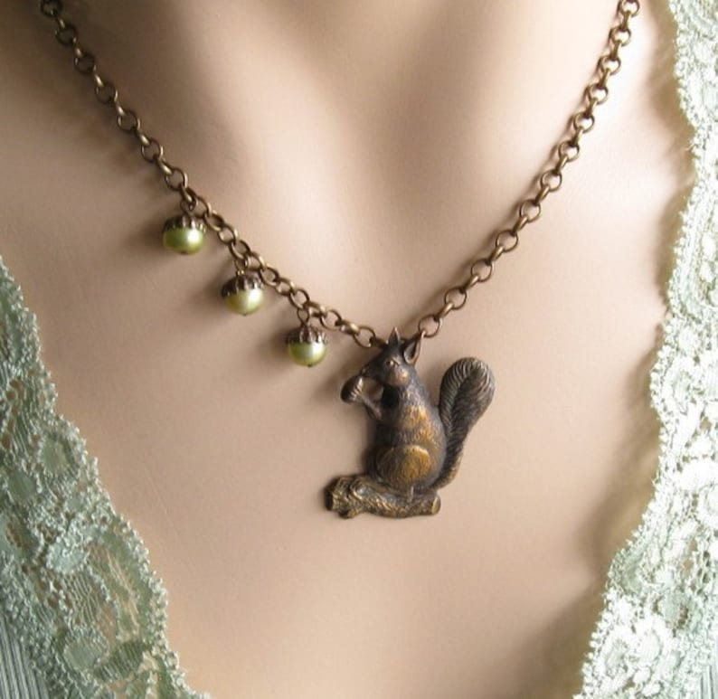 Squirrel Necklace Woodland Jewelry Gifts for Mom Squirrel image 0