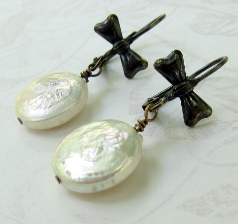 coin pearl earrings vintage wedding white pearl earrings image 0