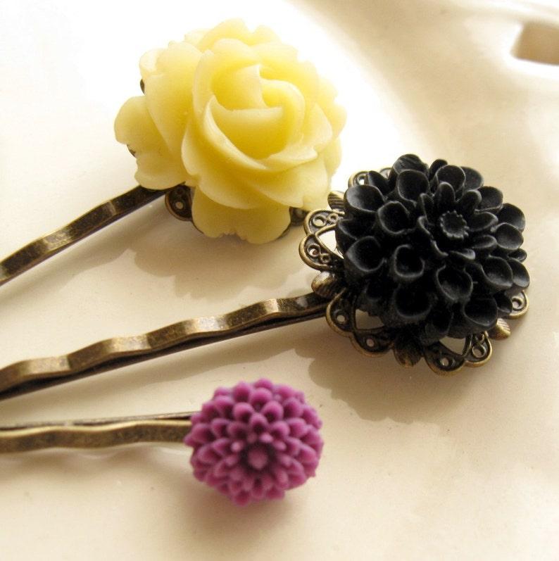 Yellow Flower Hairpin Black Flower Hairpin Hairpin Gift Set image 0
