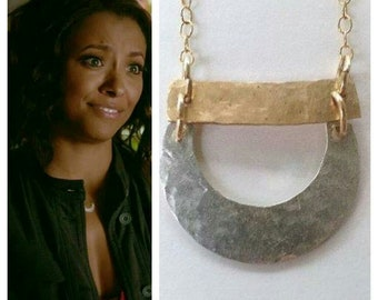 TVD Jewelry, Bonnie's Necklace, Minimalistic Jewelry, Silver and Gold, hammered Necklace, Gift for Her, Unique Gift, TVD