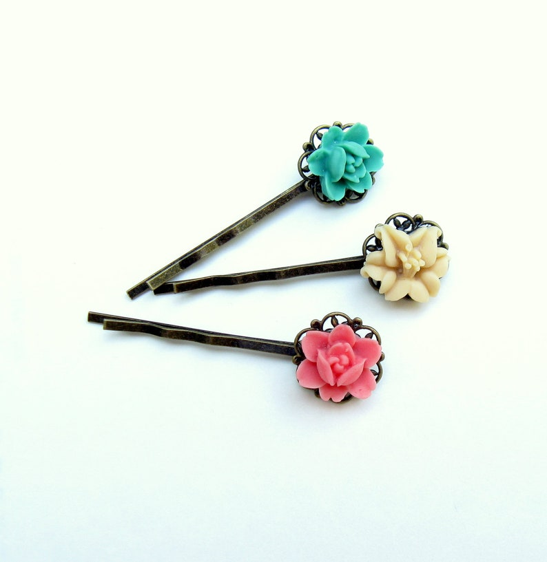 Pink Bobby Pin Teal Flower Hairpin Hairpin Gift Set under image 0