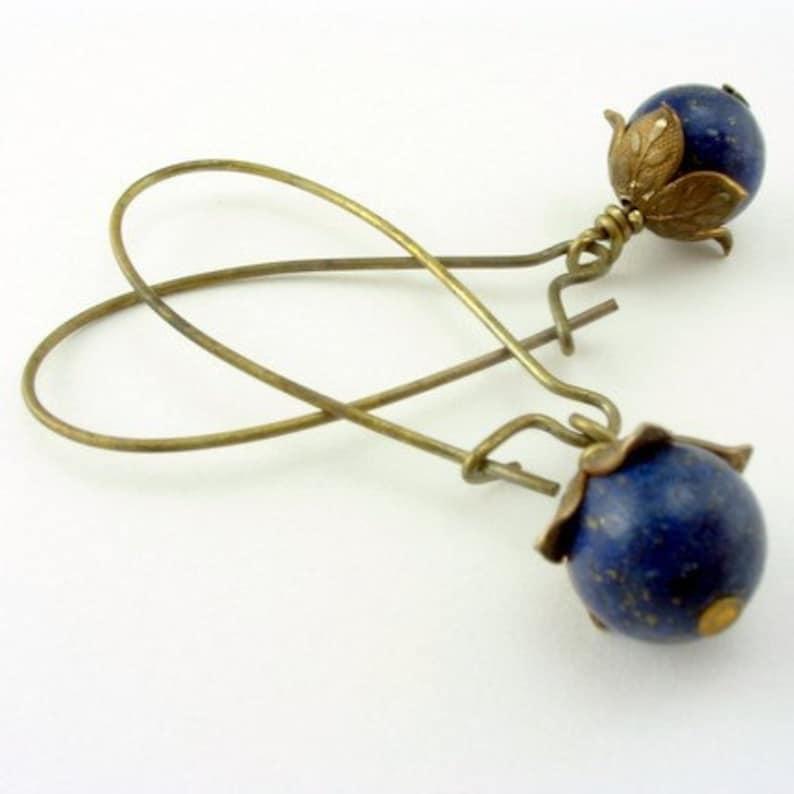 Lapis Lazuli Earrings  Cottage Style Shabby Chic Mothers Day image 0