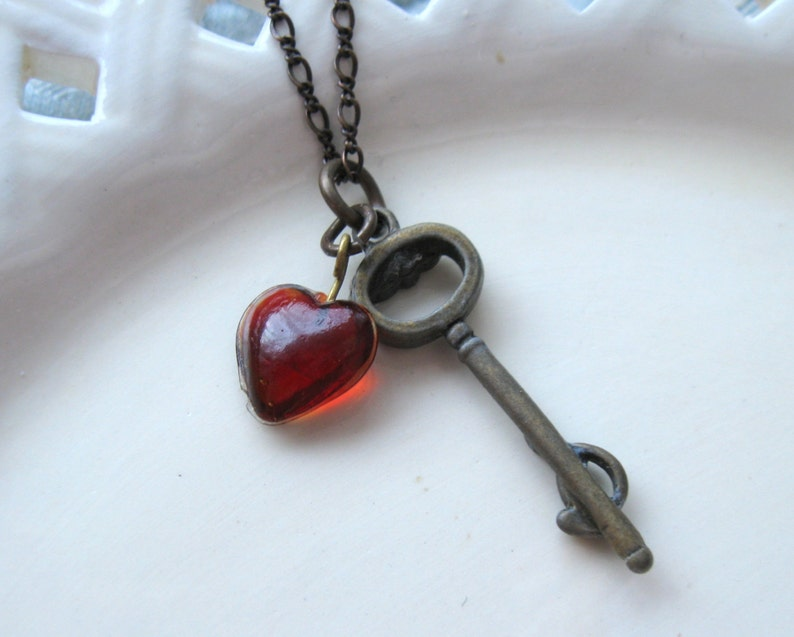 Key Necklace Heart Necklace Key to my Heart Red Heart image 0