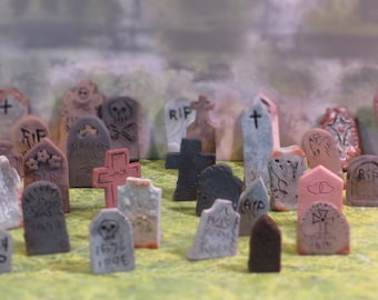 Miniature handmade Grave stones - set of 3,  random choice