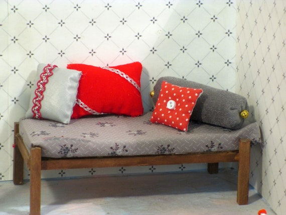 Peachy Miniature Throw Pillows Red Gray Combo Machost Co Dining Chair Design Ideas Machostcouk
