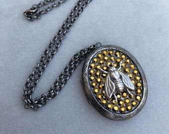 Swarovski Rhinestone Bee Locket Pendant Necklace Insect Jewelry