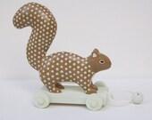 squirrel pull toy - chocolate and aqua
