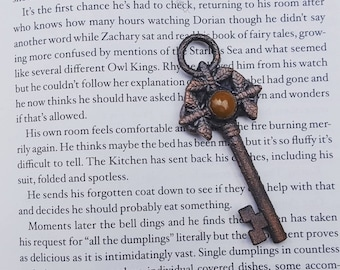 Key to The Kitchen ~ The Starless Sea Inspired Copper Key Pendant with Honey Jasper  Cabochon
