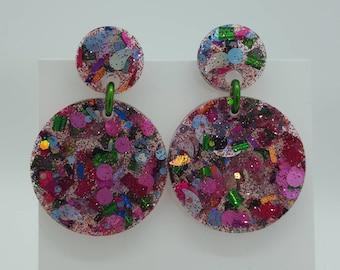 Double Round Party Earrings ~ Handmade Glitter Resin Stud Post Earrings Pink Fuchsia Green Silver