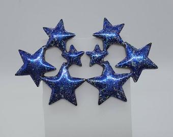 Star Cluster Earrings ~ Handmade Glitter Resin Stud Post Earrings in Purple Blue