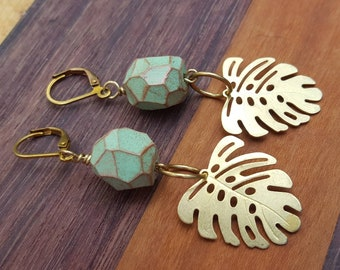 Raw Brass Earrings with Monstera Charm and Handmade Faceted Polymer Clay Bead in Mint