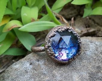 Glitter Galaxy Ring #15 (15mm round) (Size 7.5)