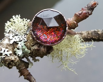 Glitter Galaxy Ring #12 (15mm round) (Size 7)