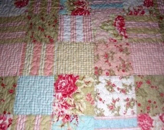 Cotton Quilted Seaside Roses Patchwork New Fabric Quilt sewbuzyb