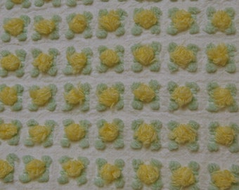 Morgan Jones Yellow Rosebud Fabric FAT QUARTER Vintage Chenille sewbuzyb