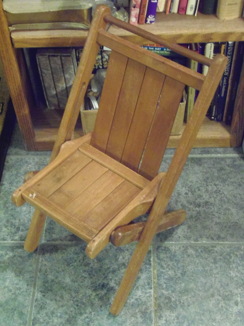 Vintage Wood Folding Chair Toddler Youth Antique Furniture Child S Wood Chair Doll Toys Plant Stand Books Home Decor