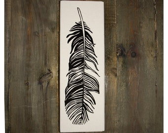 Feather Print, 12 x 4 Inch Feather Screen Print on Canvas, Nature Wall Art, Feather Art, Bird Feather