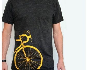 Bike T-shirt Mens / Unisex Yellow Road Bike Screenprint