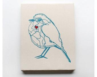 Bird Canvas Print 8 x 10 Inch Blue Bird Screen Print Wall Art