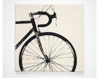 Bike Canvas Print, 12 x 12 Inch Road Bike, Screenprint, Wall Art, Bike Art, Cyclist Gift Idea