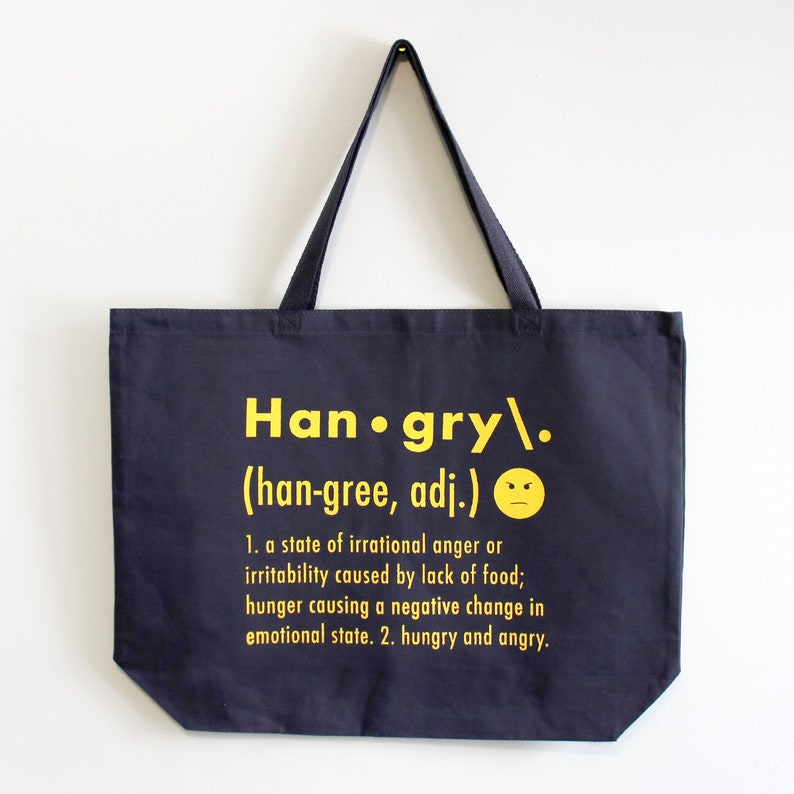 e9ca5aa3507 Tote Bag, Hangry Print, 20 x 15 x 5 Inch, Large Heavy Canvas Tote, Grocery  Bag