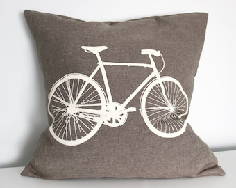 Bike Pillow Cover 16 x 16 Beige Bicycle Screenprint on Brown