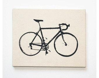 """Bike Canvas Print 8 x 10"""" Road Bike Screenprint Wall Art"""