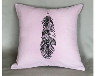 Feather Pillow Cover 16 x 16 Inch Brown Feather on Pink