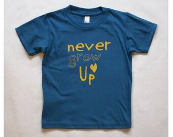 Kids T-shirt Organic Cotton Blue With Yellow Never Grow Up Screenprint