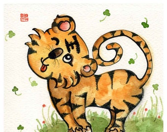 tiger print, year of the tiger, kidsroom, boy room art, gift for boy, Chinese zodiac, tiger cub, personalized gift, orange, A4