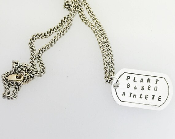Plant Based Athlete Dog Tag necklace-Unisex-Vegan Necklace-Vegan Gift-Men's Jewelry-Dog Tag necklace-Customizable-Birthday-Veganniversary