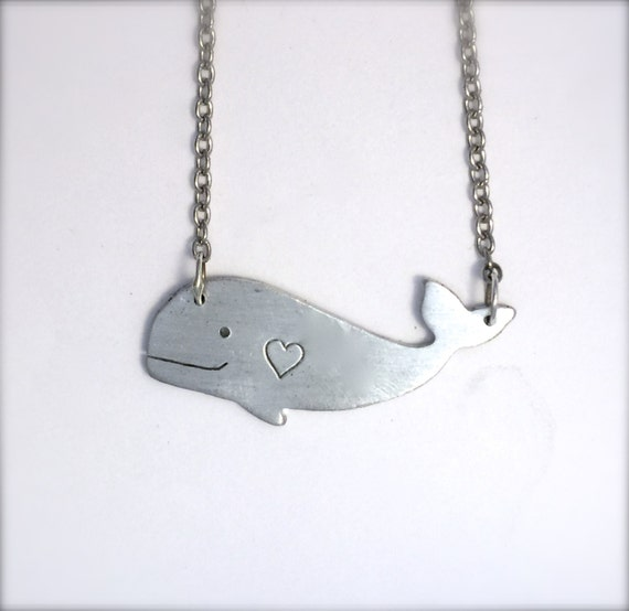 Happy Heart Whale Necklace-Vegan Jewelry-Recycled Metals-Customizable-Gift