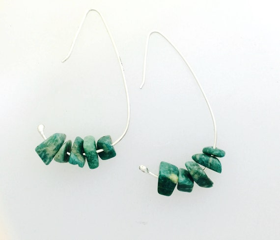 Amazonite Minimalist Wire Earring in recycled sterling silver-Gemstone Earrings-Vegan Earrings-Vegan Jewelry-vegan gift-stones