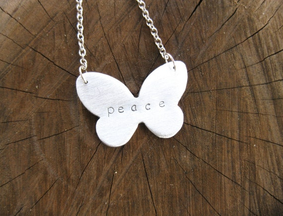Peace Butterfly Necklace-Yoga-Vegan Jewelry-Eco Friendly-Meditation Jewelry-Gift-Birthday-Anniversary-Personalized-Ethical Jewelry