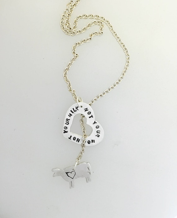 Not your Mom Not your Milk Cow Lariat Necklace-Vegan Necklace-Vegan Jewelry-Vegan Gifts-Birthday-Anniversary-Gift-Cow necklace-Animal Lover