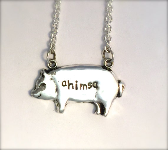 Ahimsa Pig Necklace-Metal Clay-PMC-Vegan Necklace-Yoga Necklace-Vegan Jewelry-Recycled Metals-Eco Friendly