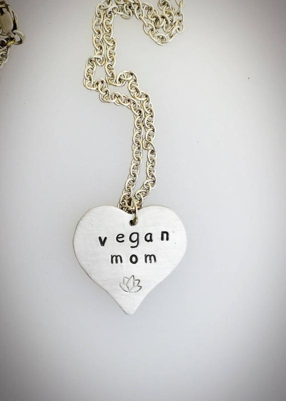 Vegan Mom Heart Necklace-Mother's Day-Mother's Day Necklace-Vegan Gift-Mom gift-Mom Necklace-Heart Necklace-Vegan Necklace-Vegan Jewelry