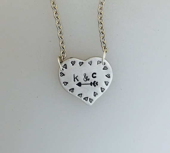 Heart with Initials necklace-Valentine's Necklace-Anniversary-Wedding-Gift-Vegan Gift-Heart Necklace-Birthday-Vegan Necklace-Birthday-love