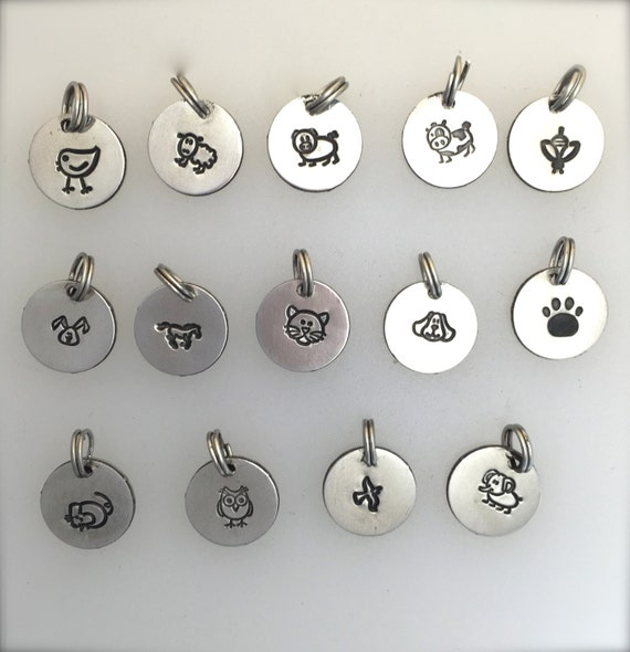 Animal Stamp Charms-Add a Charm-Vegan Charms-Vegan Gift-Animal Lovers-Jewelry Making-hand stamped charms-metal charms