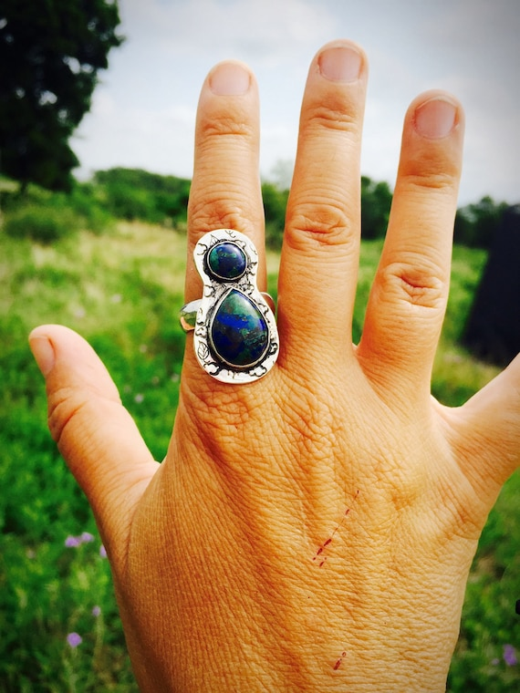 Land & Sky ring-Azurite Malachite Gemstones-Gemstone Ring-Vegan Ring-Vegan Gift-Birthday-Anniversary-Hippie Ring-Gift-OOAK-Art Jewelry
