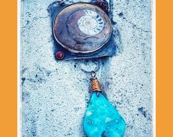 Conserve Water Ammonite Turqoise Necklace-Fossil necklace-Desert Love-Desert Jewelry-Vegan Necklace-Vegan Jewelry-OOAK-Gemstone Jewelry-gift