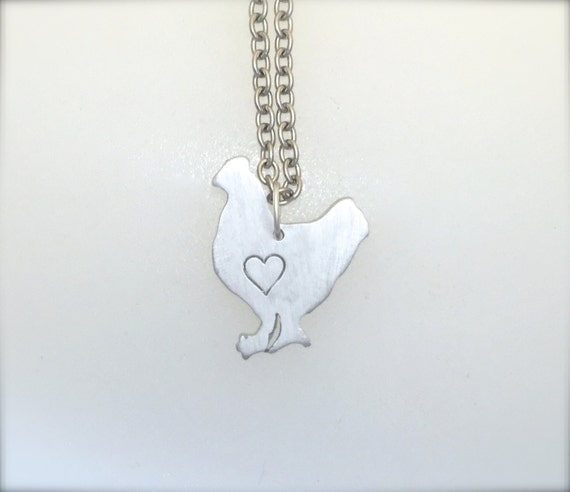 New-Mini Chicken with Heart Necklace-Vegan Necklace-Vegan Jewelry-Chicken Rescue-Chicken Necklace-Farm Animal Sanctuary-Farm Animal Jewelry