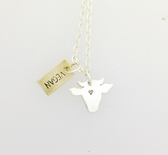 Vegan Mini Cow Head Necklace-Vegan Necklace-Vegan Jewelry-Plant Based Necklace-Vegan Gift-Birthday-Dainty Necklace-Cow Necklace-Minimalist