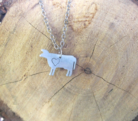 Mini Cow with Heart Necklace-Vegan Necklace-Vegan Jewelry-Gift-Birthday-Taurus-Zodiac-Ethical-Farm Animal Necklace-Eco Friendly-Personalized
