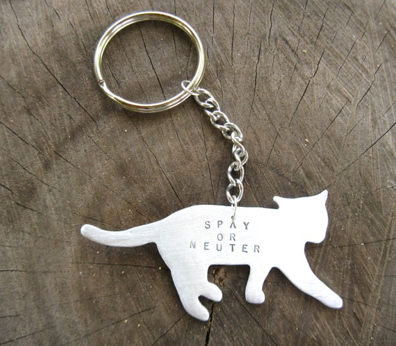 Cat Keychain-Spay or Neuter-Rescue Cats-Cat Lover-Pet Memorial-Customizable-Animal Lover-Vegan-Gift-Eco Friendly