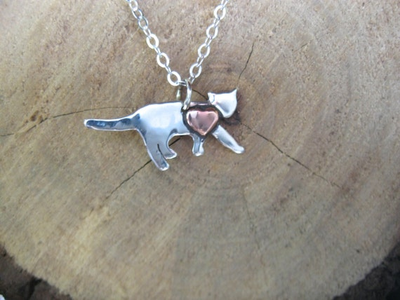 Mini Cat with Copper Heart Necklace-Recycled Sterling Silver-Cat Rescue-Cat Necklace-Vegan Necklace-Gift-Birthday-Anniversary-Cat Memorial